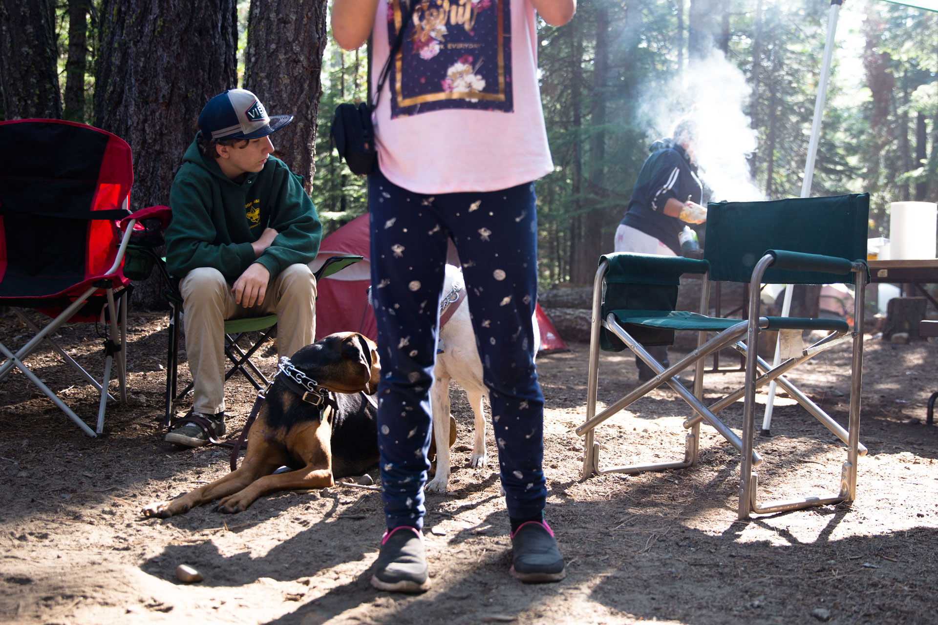 girl standing in front and dogs laying down behind her on a camping trip. Boy sitting in chair looking to the side