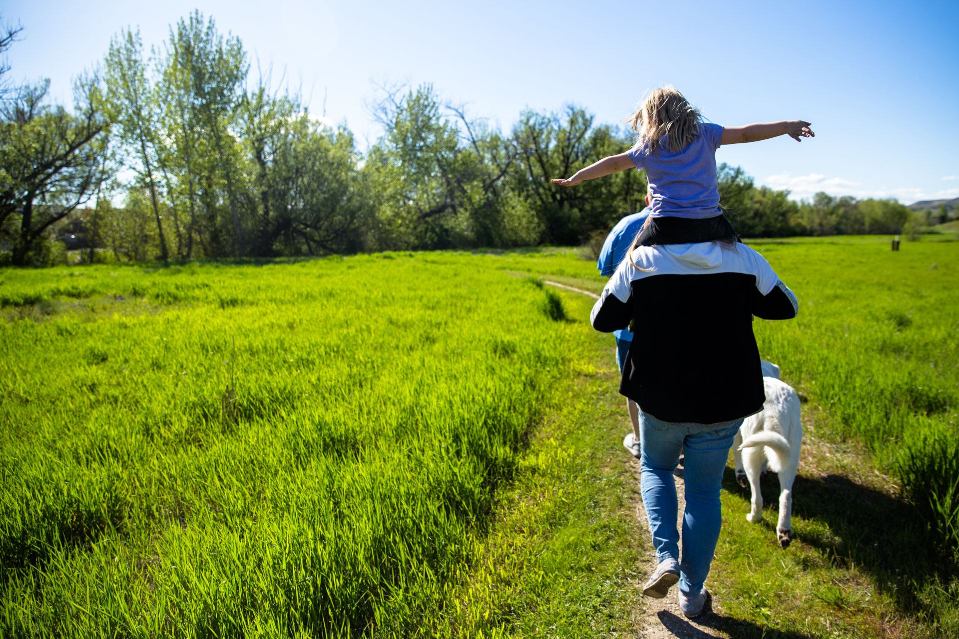 Girl sitting on top of dads shoulders as they walk along the greenery area