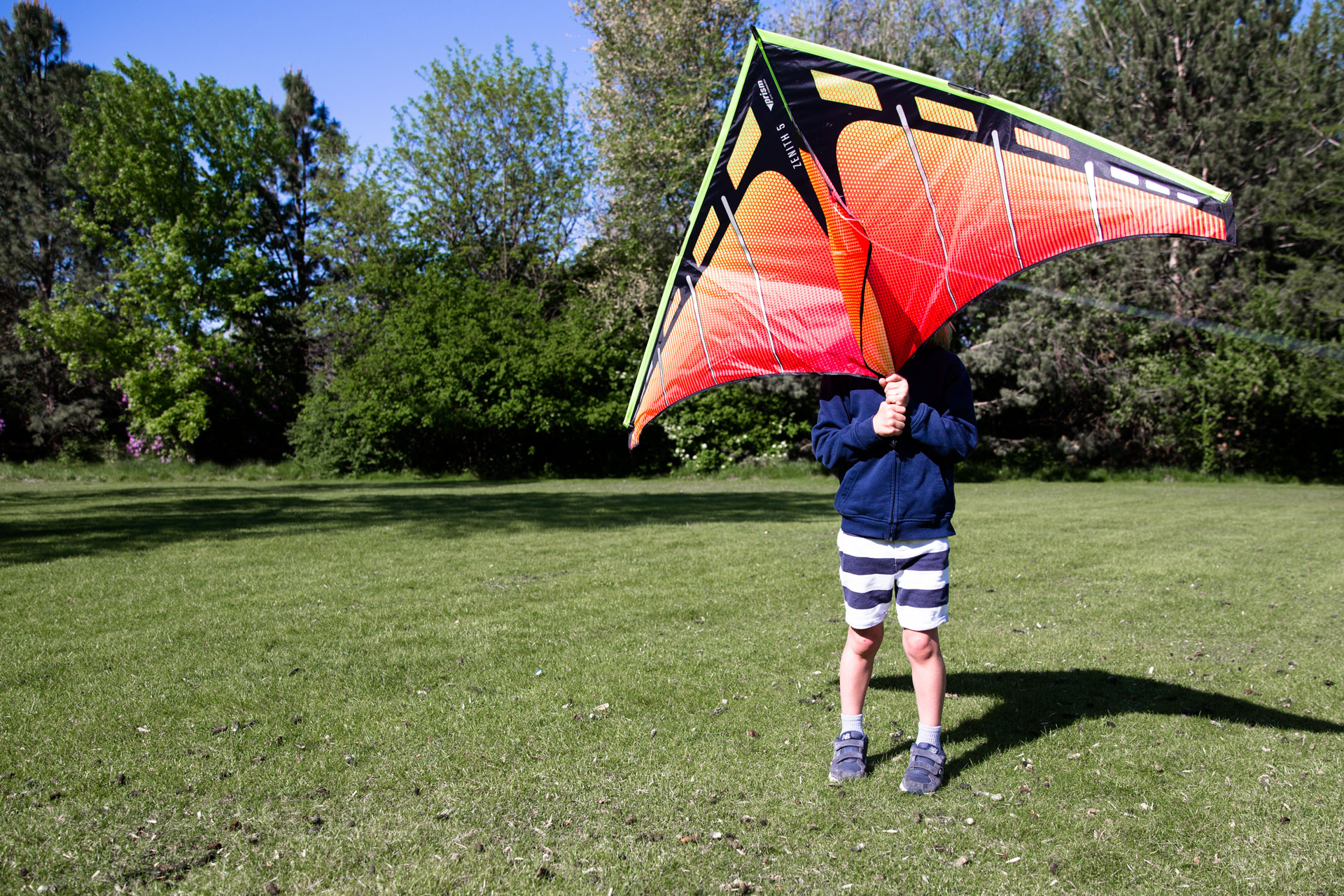 Little boy in the park holding a very large kite in front of his face blocking it