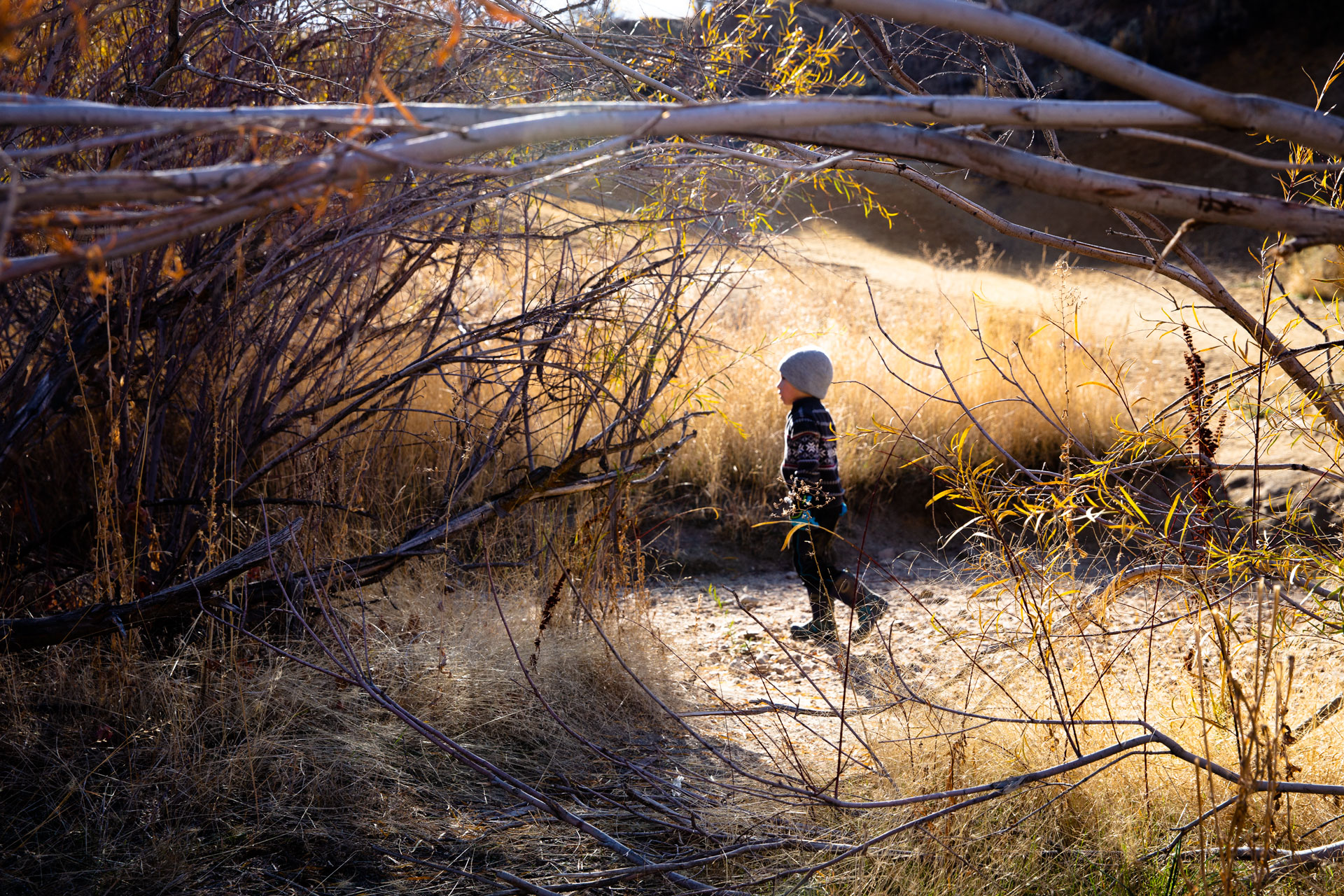 Boy running down trail to the left and his image peeking through some dead branches