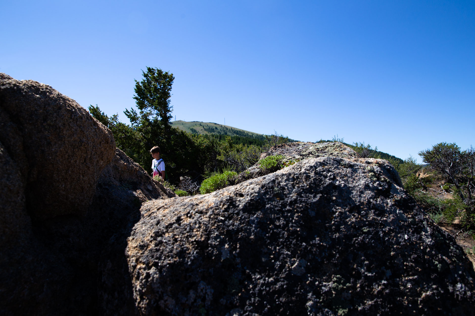 young boy walking though the rocks on the top of a mountain with the trees behind him